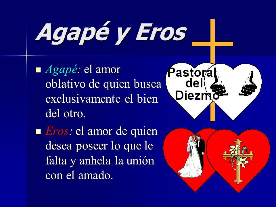 Agapé y Eros Agapé: el amor oblativo de quien busca exclusivamente el bien del otro. Agapé: el amor oblativo de quien busca exclusivamente el bien del