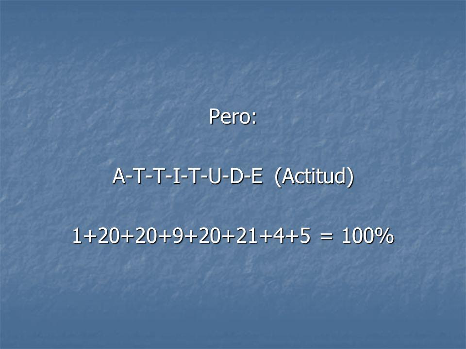 Pero: A-T-T-I-T-U-D-E (Actitud) 1+20+20+9+20+21+4+5 = 100%