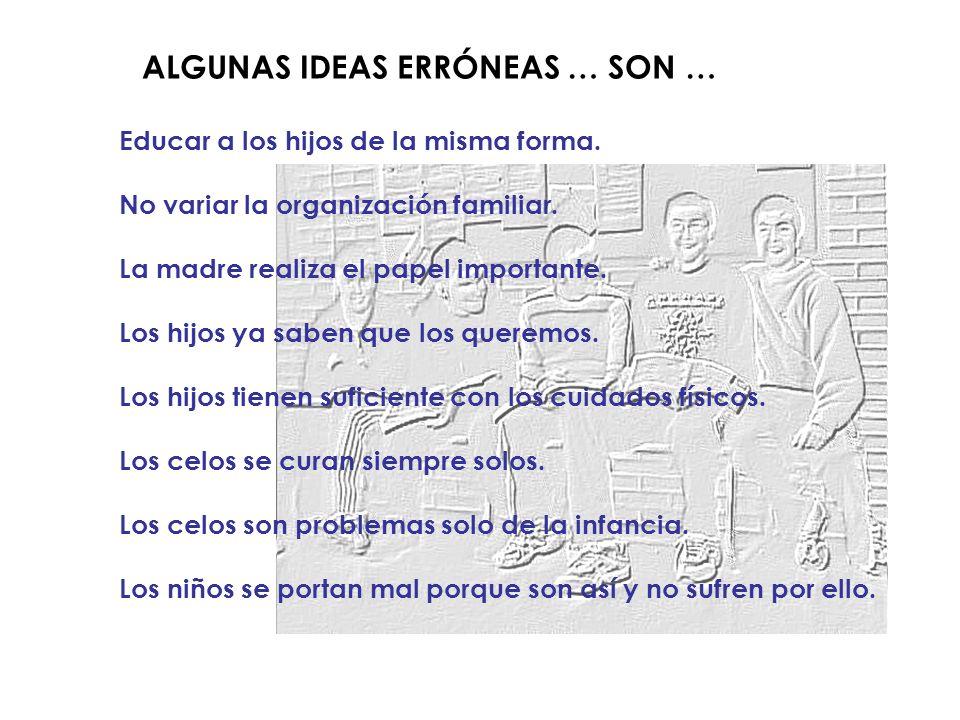 ALGUNAS IDEAS ERRÓNEAS … SON … Educar a los hijos de la misma forma.