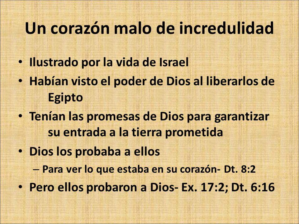 Ilustrado por la vida de Israel Habían visto el poder de Dios al liberarlos de Egipto Tenían las promesas de Dios para garantizar su entrada a la tier