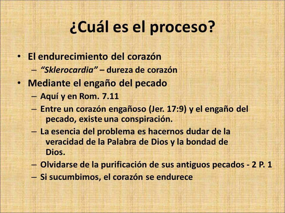 ¿Cuál es el proceso? El endurecimiento del corazón – Sklerocardia – dureza de corazón Mediante el engaño del pecado – Aquí y en Rom. 7.11 – Entre un c