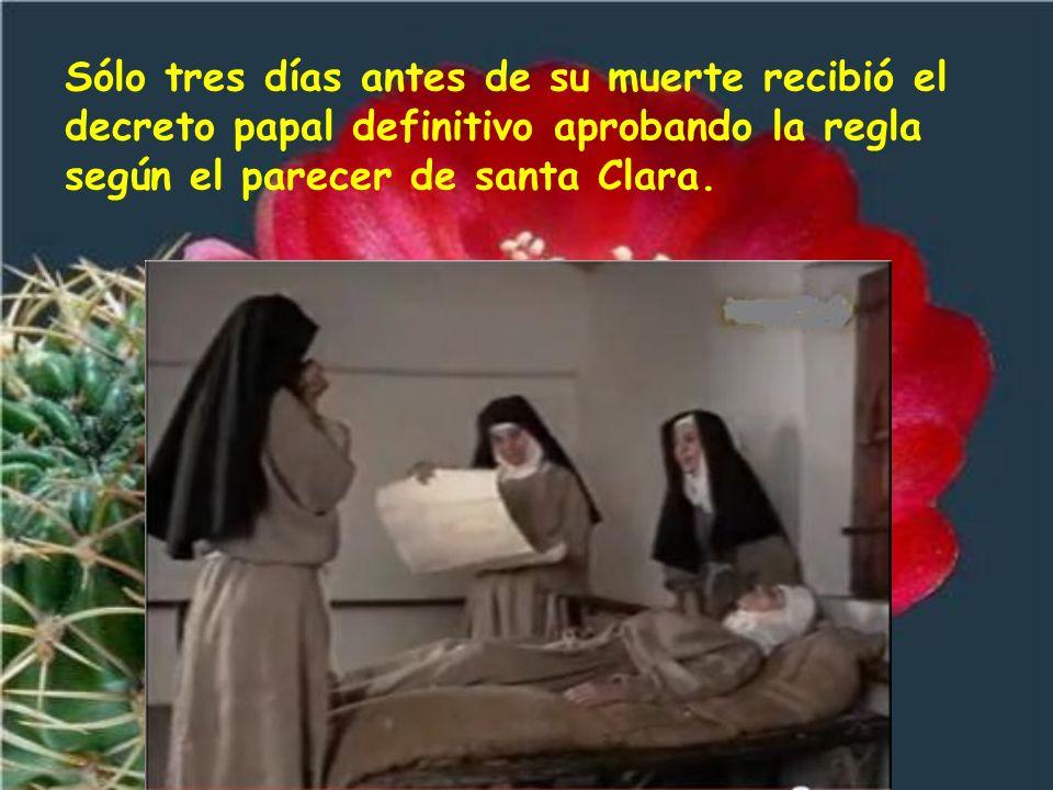 Como el papa no quería que viviesen en plena pobreza, santa Clara tuvo que pedírselo llorando. En el año 1228 el papa fue a Asís para canonizar a san