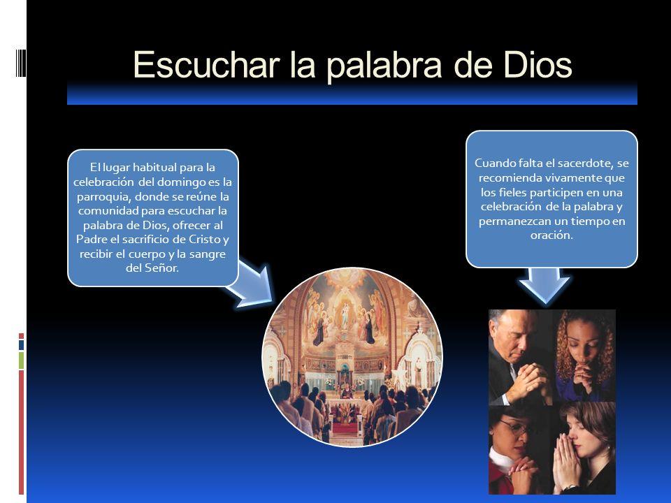 Escuchar la palabra de Dios El lugar habitual para la celebración del domingo es la parroquia, donde se reúne la comunidad para escuchar la palabra de