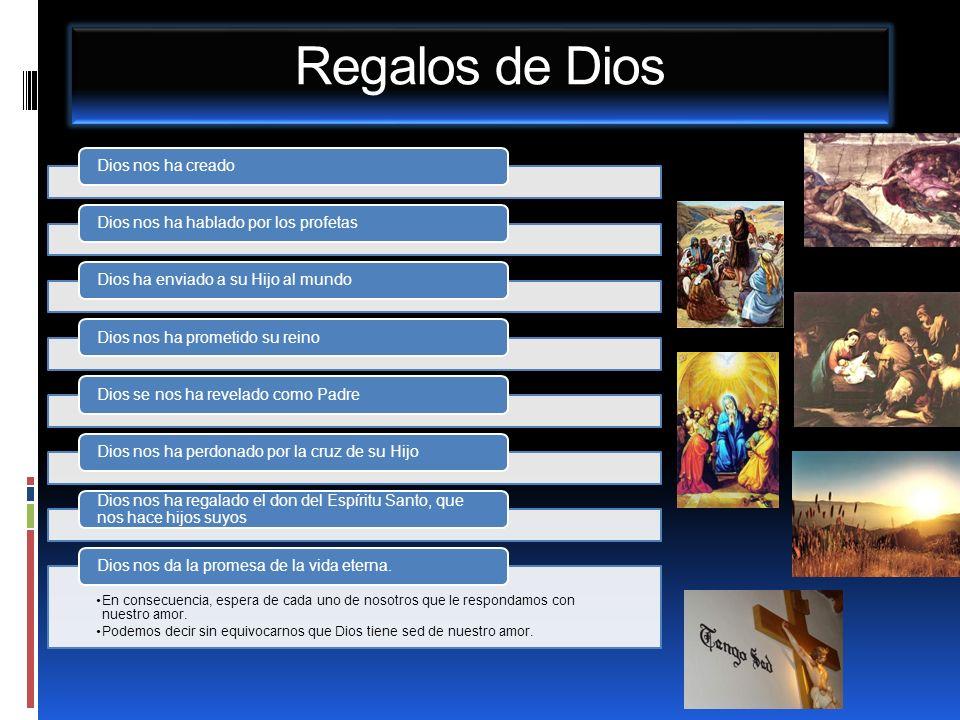 Regalos de Dios Dios nos ha creadoDios nos ha hablado por los profetasDios ha enviado a su Hijo al mundoDios nos ha prometido su reinoDios se nos ha r