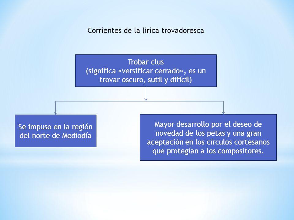 Corrientes de la lirica trovadoresca Trobar clus (significa «versificar cerrado», es un trovar oscuro, sutil y difícil) Se impuso en la región del nor