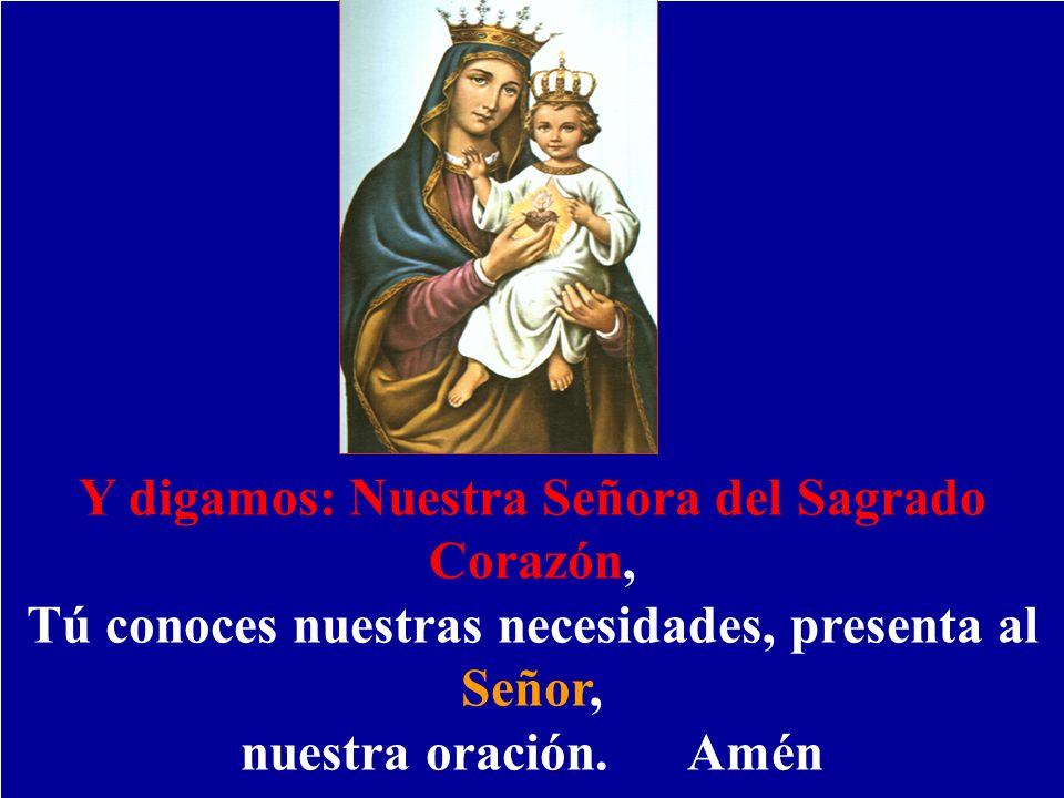 Y digamos: Nuestra Señora del Sagrado Corazón, Tú conoces nuestras necesidades, presenta al Señor, nuestra oración. Amén