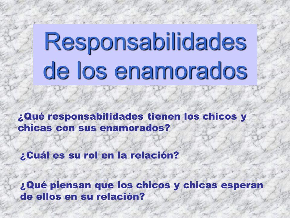 Responsabilidades de los enamorados ¿Qué responsabilidades tienen los chicos y chicas con sus enamorados? ¿Cuál es su rol en la relación? ¿Qué piensan