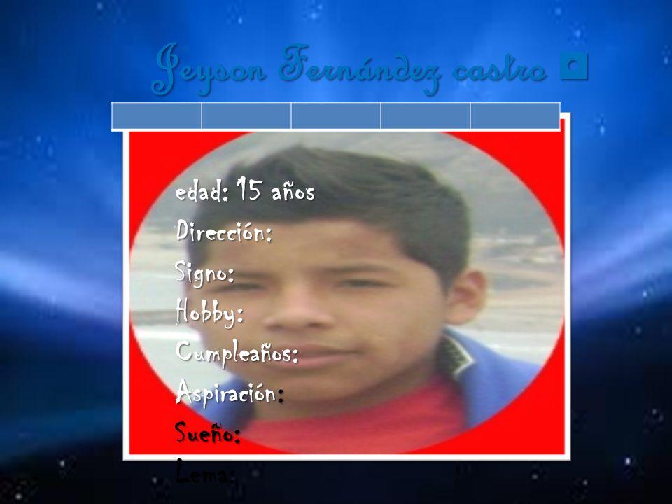 Ángelo Ibarra abad Ángelo Ibarra abad edad: 15 años Dirección:Signo:Hobby:Cumpleaños:Aspiración:Sueño:Lema: