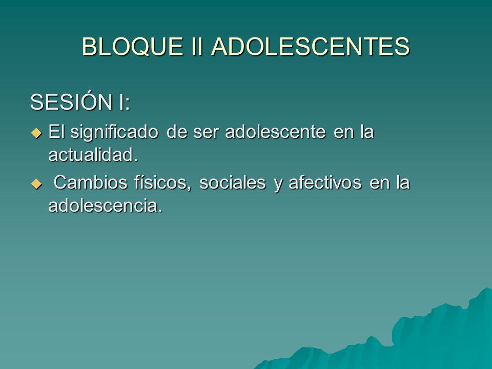 BLOQUE II ADOLESCENTES SESIÓN I: El significado de ser adolescente en la actualidad. El significado de ser adolescente en la actualidad. Cambios físic