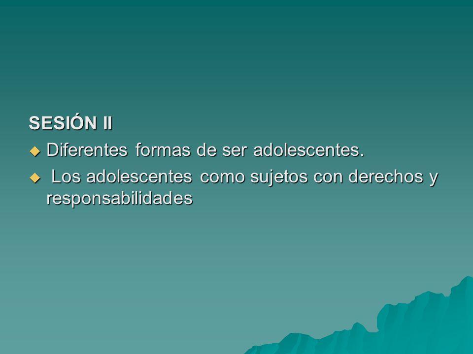 SESIÓN II Diferentes formas de ser adolescentes. Diferentes formas de ser adolescentes. Los adolescentes como sujetos con derechos y responsabilidades