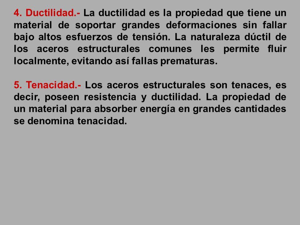 4. Ductilidad.- La ductilidad es la propiedad que tiene un material de soportar grandes deformaciones sin fallar bajo altos esfuerzos de tensión. La n