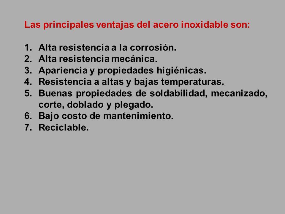 Las principales ventajas del acero inoxidable son: 1.Alta resistencia a la corrosión. 2.Alta resistencia mecánica. 3.Apariencia y propiedades higiénic