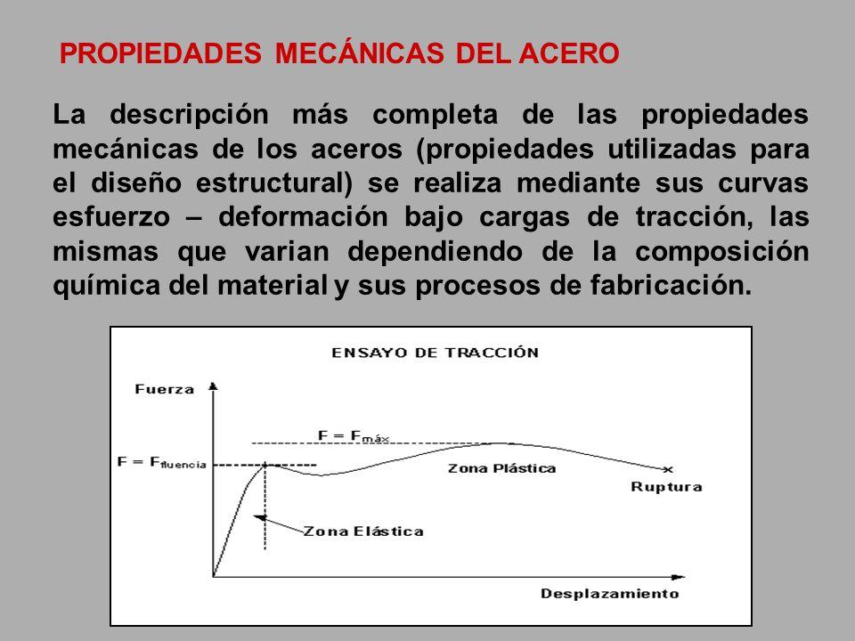 PROPIEDADES MECÁNICAS DEL ACERO La descripción más completa de las propiedades mecánicas de los aceros (propiedades utilizadas para el diseño estructu