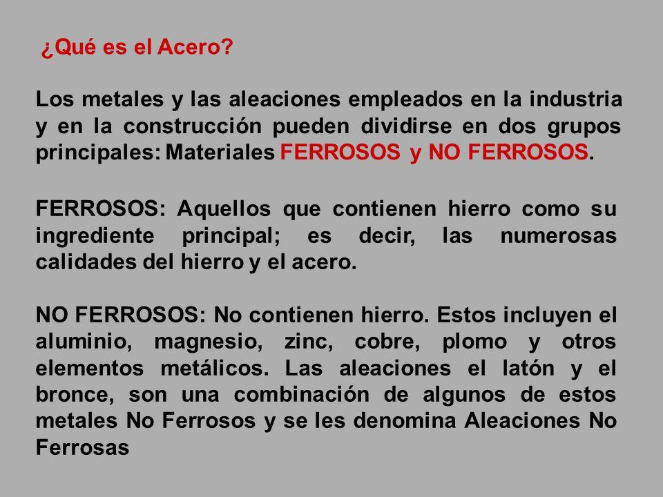 Los metales y las aleaciones empleados en la industria y en la construcción pueden dividirse en dos grupos principales: Materiales FERROSOS y NO FERRO