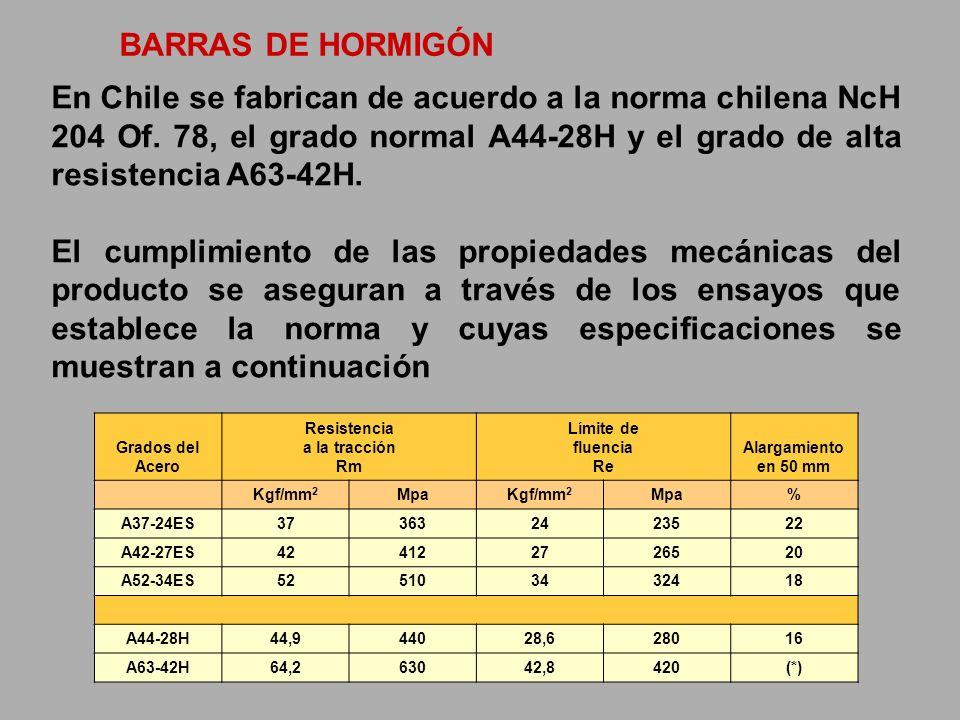 BARRAS DE HORMIGÓN En Chile se fabrican de acuerdo a la norma chilena NcH 204 Of. 78, el grado normal A44-28H y el grado de alta resistencia A63-42H.