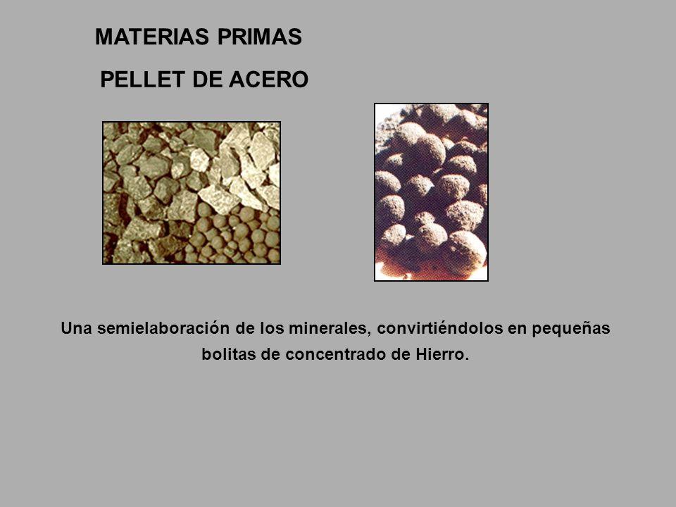 Una semielaboración de los minerales, convirtiéndolos en pequeñas bolitas de concentrado de Hierro. PELLET DE ACERO MATERIAS PRIMAS