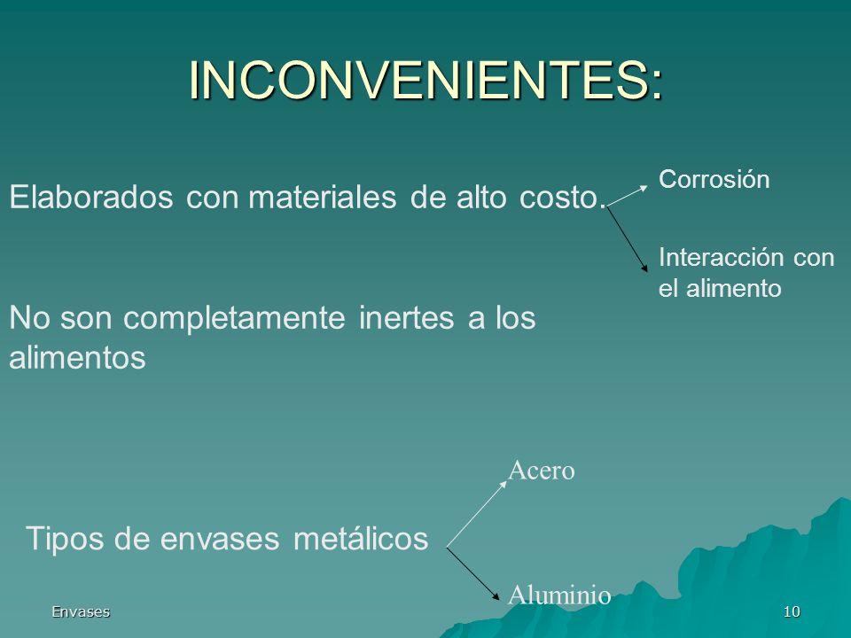 Envases10 INCONVENIENTES: Corrosión Interacción con el alimento Elaborados con materiales de alto costo. No son completamente inertes a los alimentos