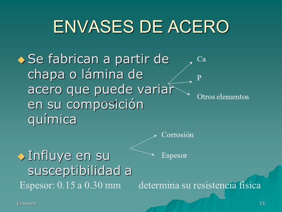 Envases11 ENVASES DE ACERO Se fabrican a partir de chapa o lámina de acero que puede variar en su composición química Se fabrican a partir de chapa o