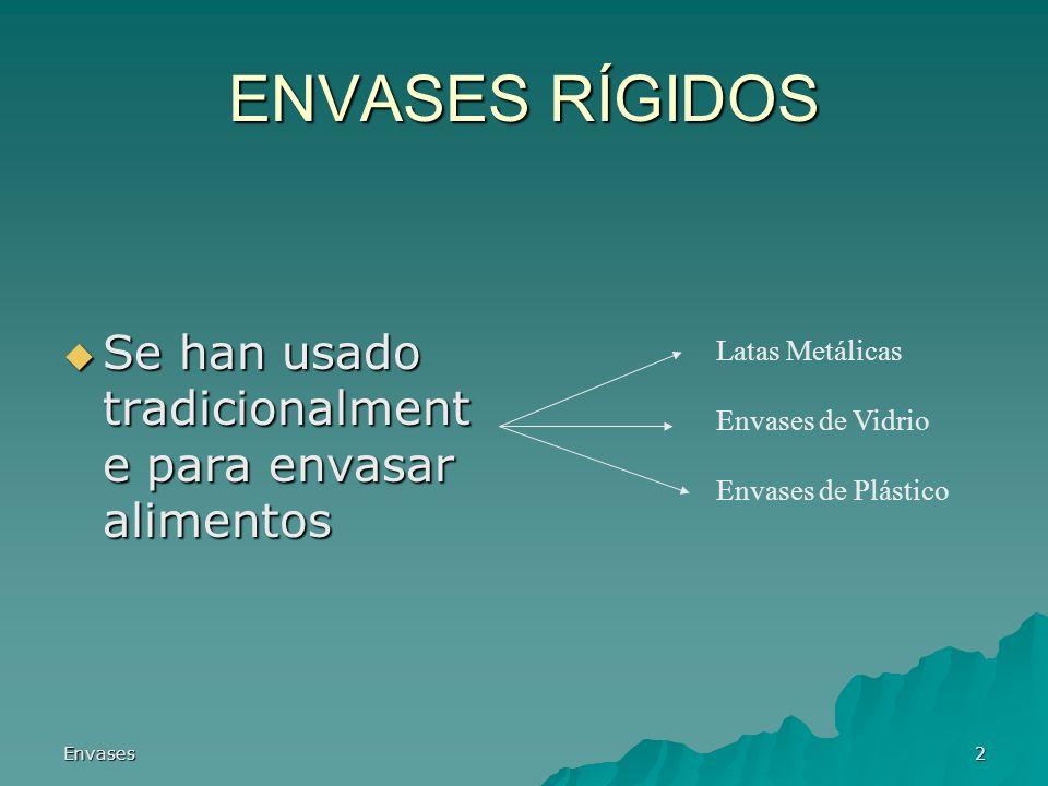 Envases2 ENVASES RÍGIDOS Se han usado tradicionalment e para envasar alimentos Se han usado tradicionalment e para envasar alimentos Latas Metálicas E