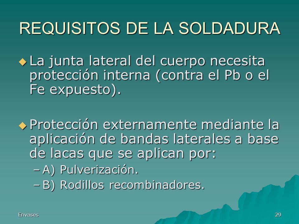 Envases29 REQUISITOS DE LA SOLDADURA La junta lateral del cuerpo necesita protección interna (contra el Pb o el Fe expuesto). La junta lateral del cue