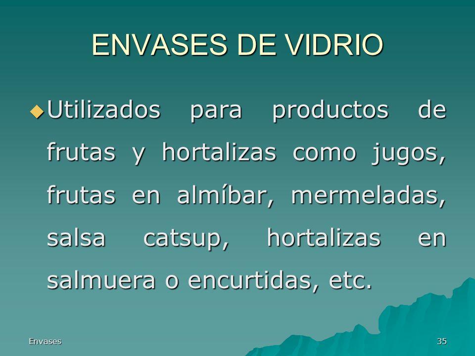 Envases35 ENVASES DE VIDRIO Utilizados para productos de frutas y hortalizas como jugos, frutas en almíbar, mermeladas, salsa catsup, hortalizas en sa
