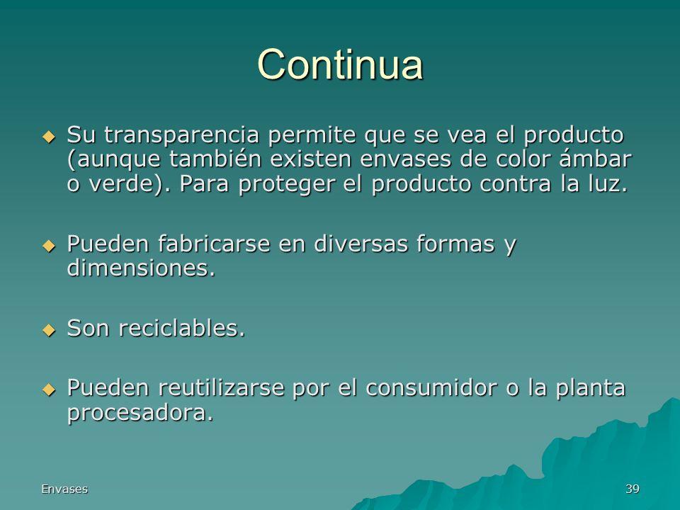 Envases39 Continua Su transparencia permite que se vea el producto (aunque también existen envases de color ámbar o verde). Para proteger el producto
