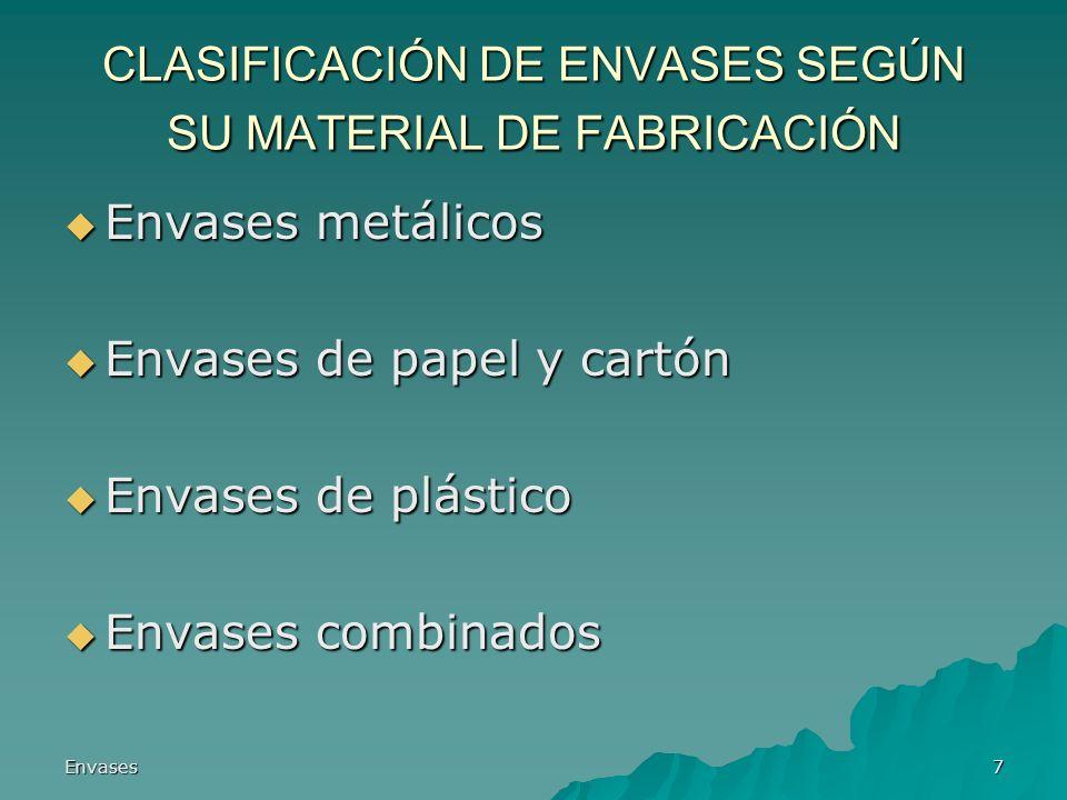 Envases7 CLASIFICACIÓN DE ENVASES SEGÚN SU MATERIAL DE FABRICACIÓN Envases metálicos Envases metálicos Envases de papel y cartón Envases de papel y ca