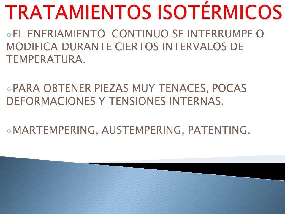 EL ENFRIAMIENTO CONTINUO SE INTERRUMPE O MODIFICA DURANTE CIERTOS INTERVALOS DE TEMPERATURA. PARA OBTENER PIEZAS MUY TENACES, POCAS DEFORMACIONES Y TE