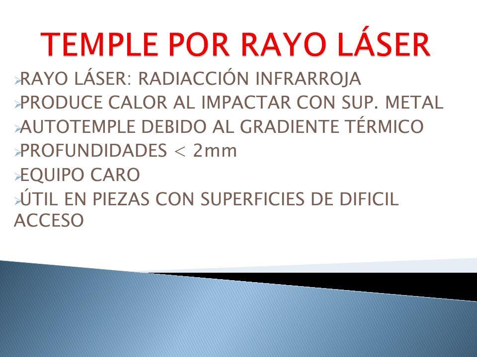 RAYO LÁSER: RADIACCIÓN INFRARROJA PRODUCE CALOR AL IMPACTAR CON SUP. METAL AUTOTEMPLE DEBIDO AL GRADIENTE TÉRMICO PROFUNDIDADES < 2mm EQUIPO CARO ÚTIL
