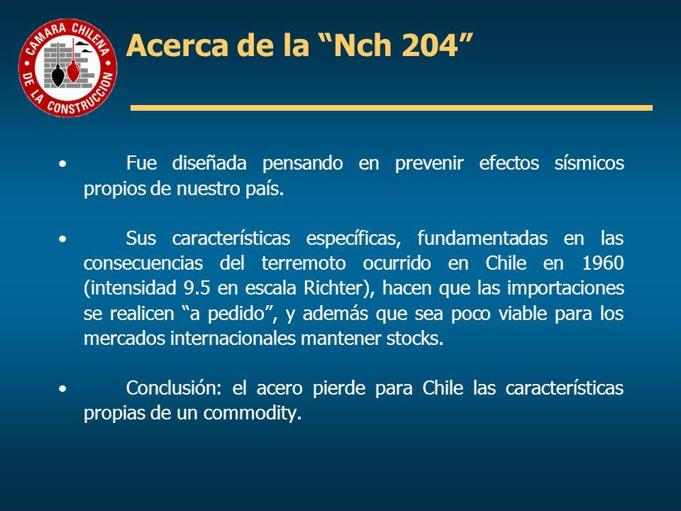 Acerca de la Nch 204 Fue diseñada pensando en prevenir efectos sísmicos propios de nuestro país. Sus características específicas, fundamentadas en las