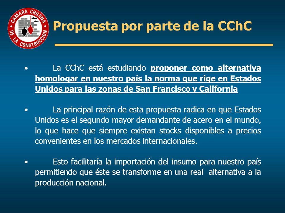 Propuesta por parte de la CChC La CChC está estudiando proponer como alternativa homologar en nuestro país la norma que rige en Estados Unidos para la