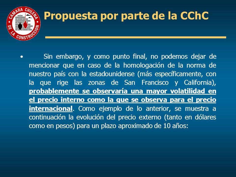 Propuesta por parte de la CChC Sin embargo, y como punto final, no podemos dejar de mencionar que en caso de la homologación de la norma de nuestro pa