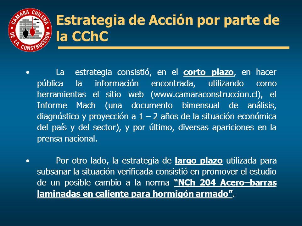 Estrategia de Acción por parte de la CChC La estrategia consistió, en el corto plazo, en hacer pública la información encontrada, utilizando como herr