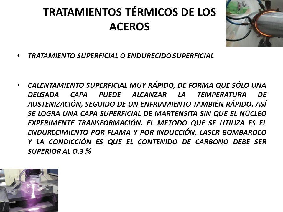 TRATAMIENTO SUPERFICIAL O ENDURECIDO SUPERFICIAL CALENTAMIENTO SUPERFICIAL MUY RÁPIDO, DE FORMA QUE SÓLO UNA DELGADA CAPA PUEDE ALCANZAR LA TEMPERATURA DE AUSTENIZACIÓN, SEGUIDO DE UN ENFRIAMIENTO TAMBIÉN RÁPIDO.