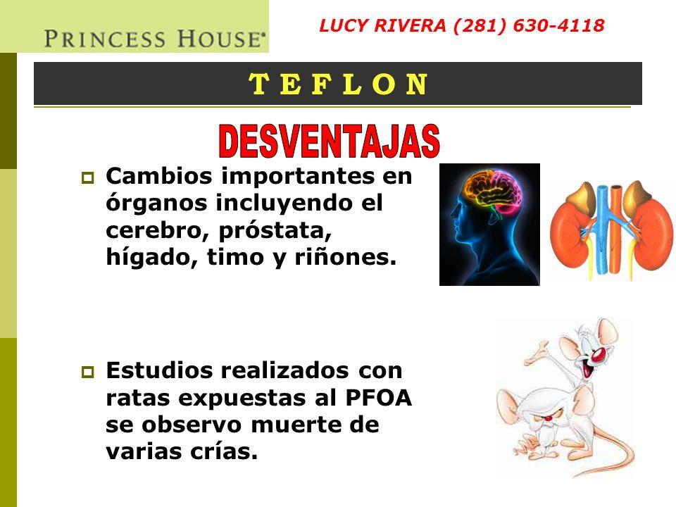 Cambios importantes en órganos incluyendo el cerebro, próstata, hígado, timo y riñones. Estudios realizados con ratas expuestas al PFOA se observo mue