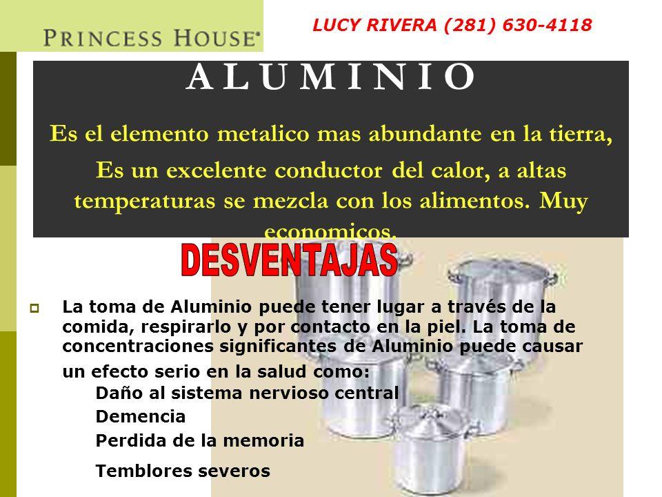 A L U M I N I O La contaminacion de los alimentos con el aluminio esta asociado con el mal de Alzheimer.