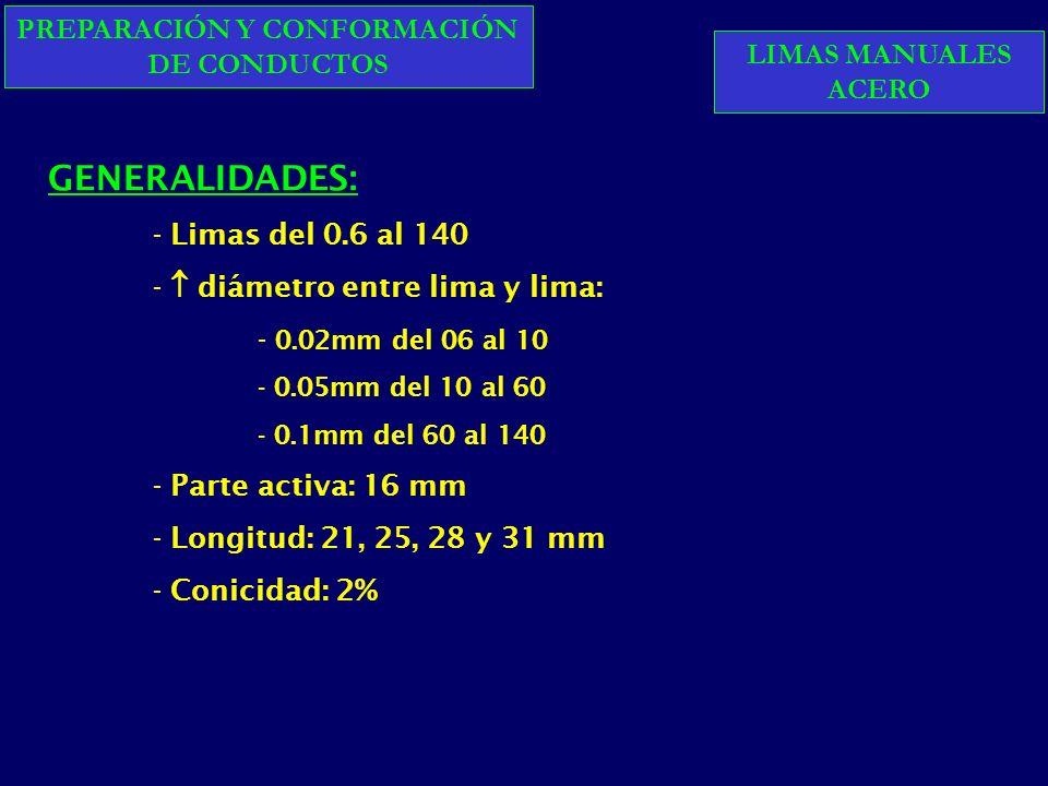 PREPARACIÓN Y CONFORMACIÓN DE CONDUCTOS GENERALIDADES: - Limas del 0.6 al 140 - diámetro entre lima y lima: - 0.02mm del 06 al 10 - 0.05mm del 10 al 60 - 0.1mm del 60 al 140 - Parte activa: 16 mm - Longitud: 21, 25, 28 y 31 mm - Conicidad: 2% LIMAS MANUALES ACERO