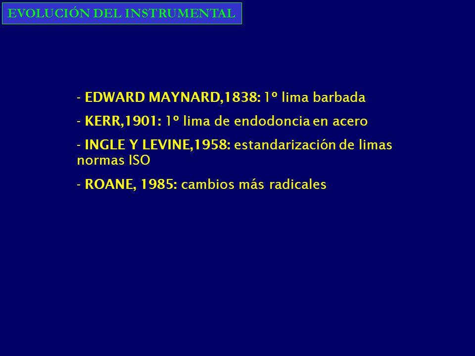 EVOLUCIÓN DEL INSTRUMENTAL - EDWARD MAYNARD,1838: 1º lima barbada - KERR,1901: 1º lima de endodoncia en acero - INGLE Y LEVINE,1958: estandarización de limas normas ISO - ROANE, 1985: cambios más radicales