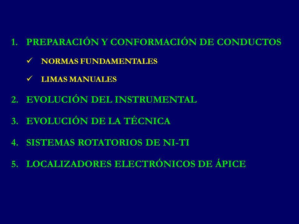 1.PREPARACIÓN Y CONFORMACIÓN DE CONDUCTOS NORMAS FUNDAMENTALES LIMAS MANUALES 2.EVOLUCIÓN DEL INSTRUMENTAL 3.EVOLUCIÓN DE LA TÉCNICA 4.SISTEMAS ROTATORIOS DE NI-TI 5.LOCALIZADORES ELECTRÓNICOS DE ÁPICE