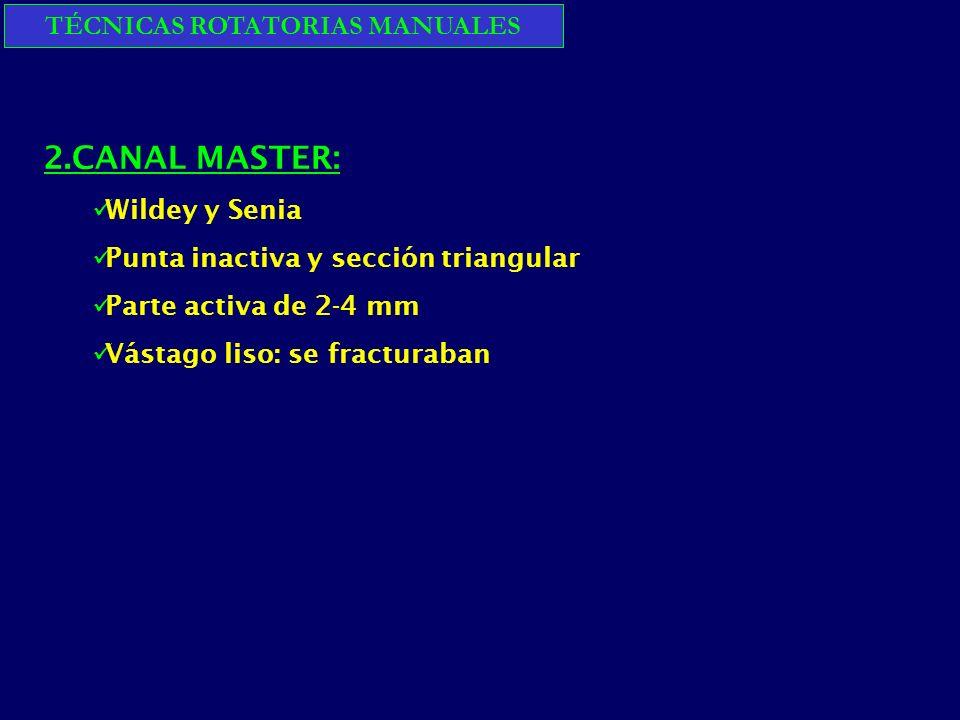 TÉCNICAS ROTATORIAS MANUALES 2.CANAL MASTER: Wildey y Senia Punta inactiva y sección triangular Parte activa de 2-4 mm Vástago liso: se fracturaban