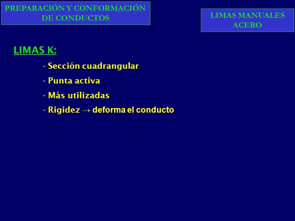 PREPARACIÓN Y CONFORMACIÓN DE CONDUCTOS LIMAS K: - Sección cuadrangular - Punta activa - Más utilizadas - Rigidez deforma el conducto LIMAS MANUALES ACERO