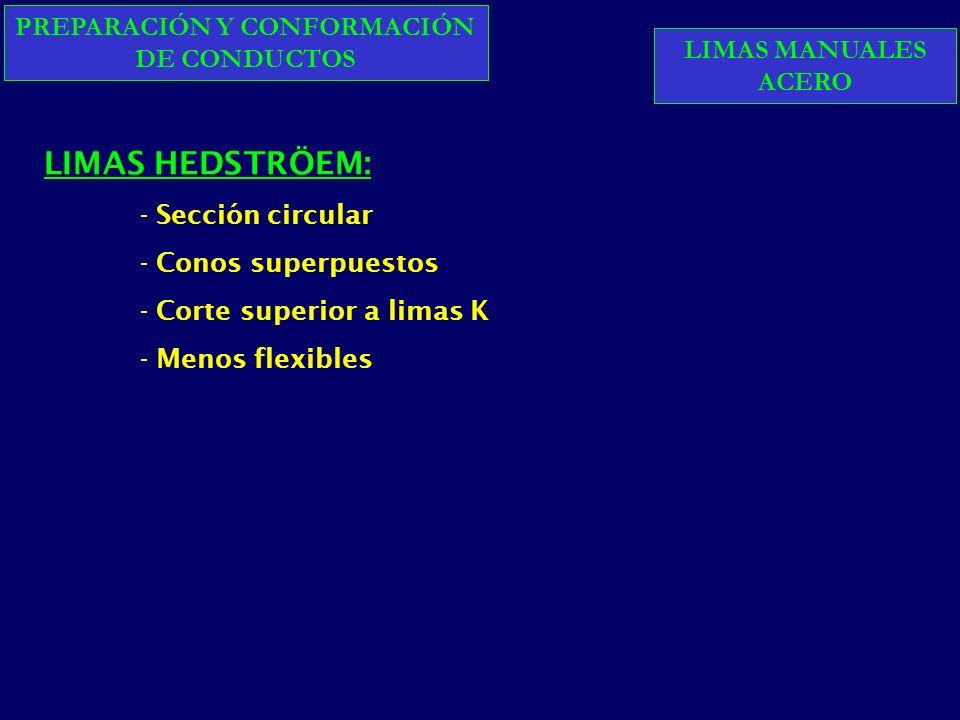PREPARACIÓN Y CONFORMACIÓN DE CONDUCTOS LIMAS HEDSTRÖEM: - Sección circular - Conos superpuestos - Corte superior a limas K - Menos flexibles LIMAS MANUALES ACERO