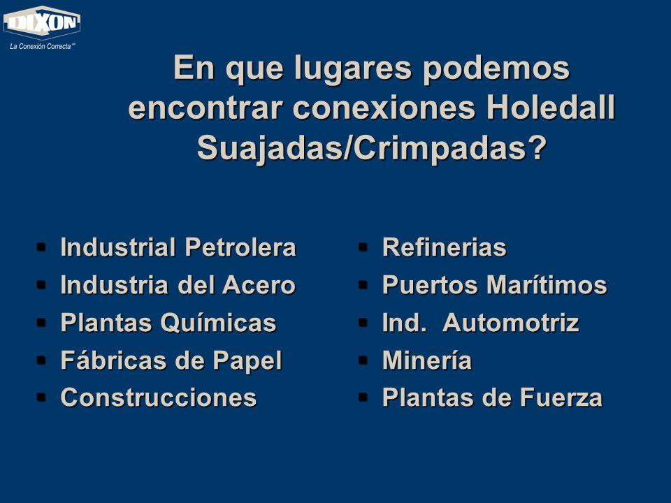 En que lugares podemos encontrar conexiones Holedall Suajadas/Crimpadas? Industrial Petrolera Industrial Petrolera Industria del Acero Industria del A