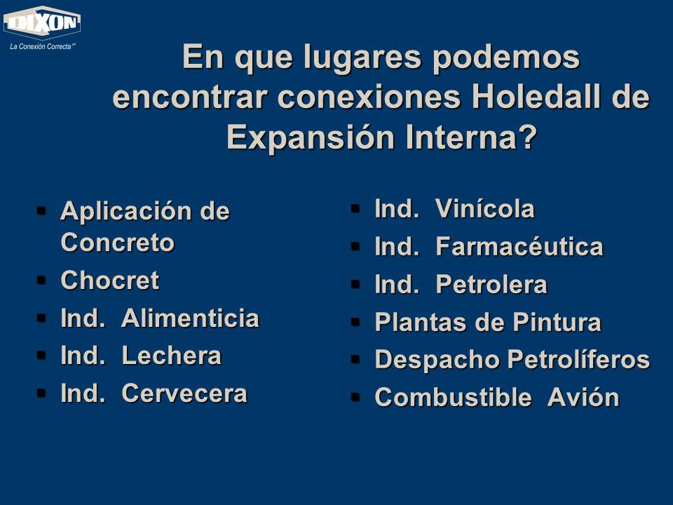 En que lugares podemos encontrar conexiones Holedall de Expansión Interna? Aplicación de Concreto Aplicación de Concreto Chocret Chocret Ind. Alimenti