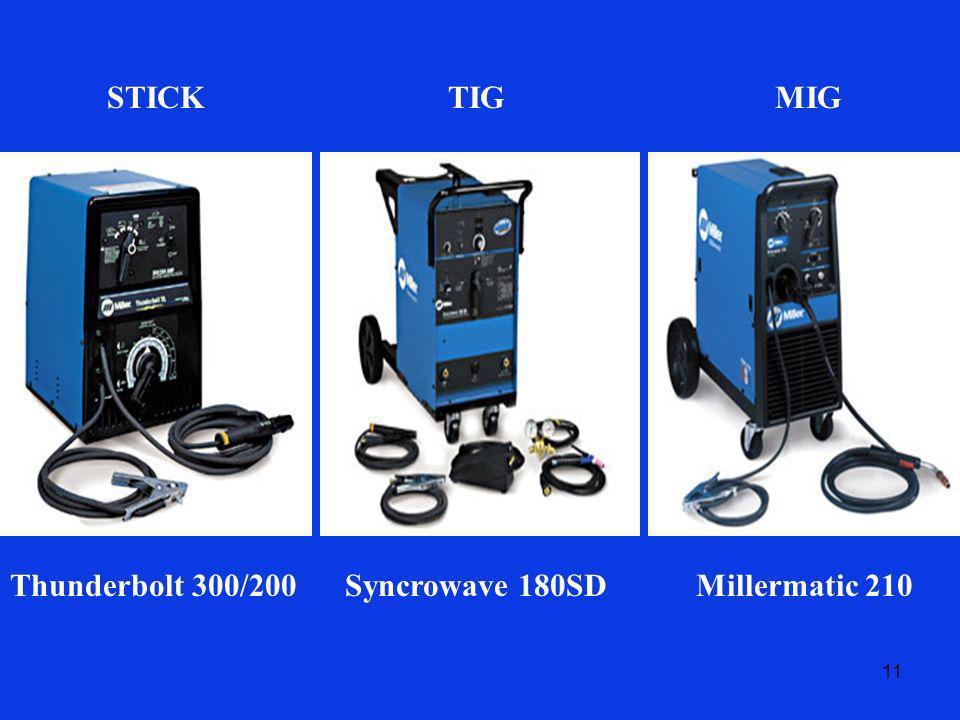 11 STICKTIGMIG Thunderbolt 300/200Syncrowave 180SDMillermatic 210