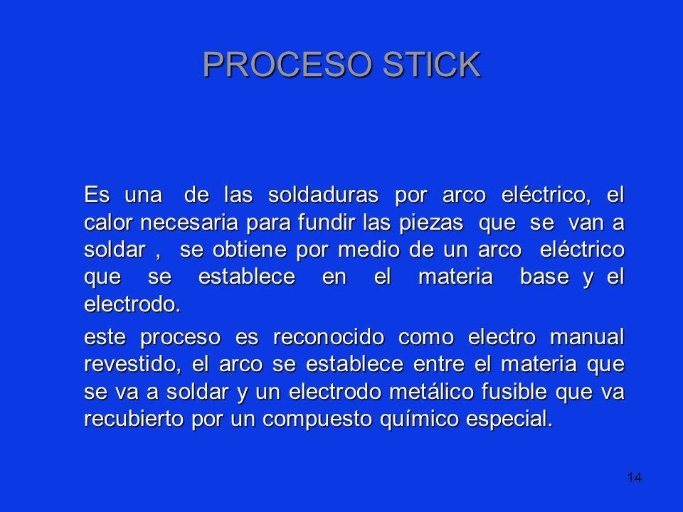 14 PROCESO STICK Es una de las soldaduras por arco eléctrico, el calor necesaria para fundir las piezas que se van a soldar, se obtiene por medio de u