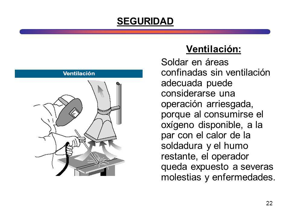 22 SEGURIDAD Ventilación: Soldar en áreas confinadas sin ventilación adecuada puede considerarse una operación arriesgada, porque al consumirse el oxí
