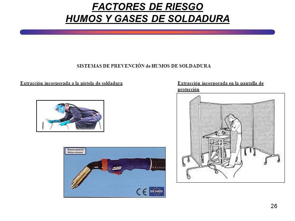 26 FACTORES DE RIESGO HUMOS Y GASES DE SOLDADURA SISTEMAS DE PREVENCIÓN de HUMOS DE SOLDADURA Extracción incorporada a la pistola de soldaduraExtracci