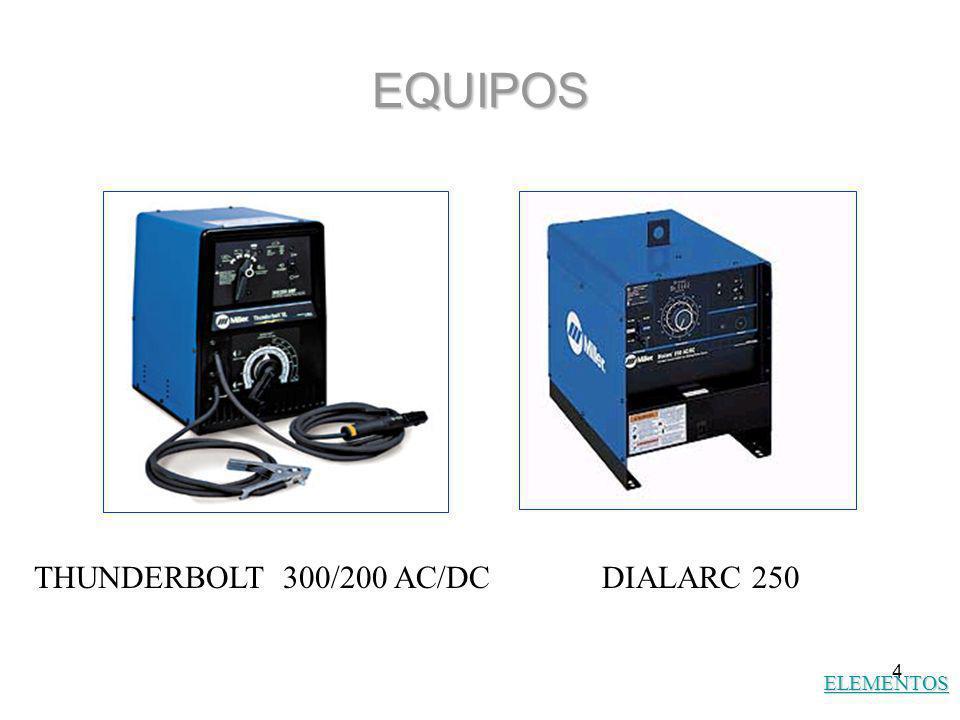 4 EQUIPOS ELEMENTOS THUNDERBOLT 300/200 AC/DCDIALARC 250