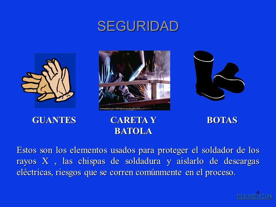 6 SEGURIDAD GUANTES CARETA Y BATOLA BOTAS Estos son los elementos usados para proteger el soldador de los rayos X, las chispas de soldadura y aislarlo
